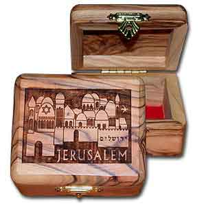 Jerusalem Rectangular Large Olive Wood Box