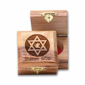 Star of David and Dove Olive Wood carved Box