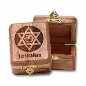 Star of David and Menorah Olive Wood Box