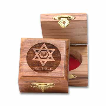 Star of David and Menorah Square Olive Wooden Box
