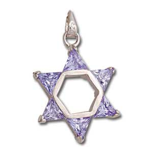 Sterling Silver Star of David Pendant with Lavender Crystals