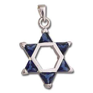 Sterling Silver Star of David Pendant with Dark Blue Crystals