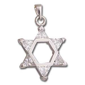 Sterling Silver Star of David Pendant with Clear Crystals
