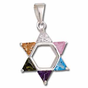 Sterling Silver Star of David Pendant with Multi-Colored Crystals