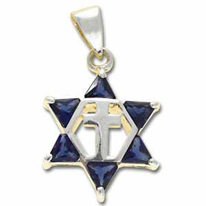 Sterling Silver Messianic Star Pendant with Dark Blue Crystals