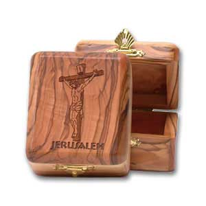 The Crucifixion Olive Wood Box