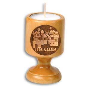 Jerusalem Olive Wood Candle Holder