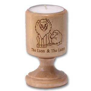 The Lion and the Lamb Olive Wood Candle Holder