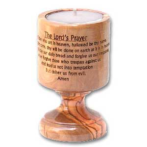 Lord's Prayer Olive Wood Candle Holder