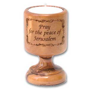 Pray for the Peace of Jerusalem Olive Wood Candle Holder