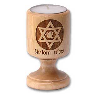 Star of David with Dove Olive Wood Candle Holder