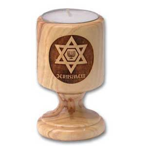 Star of David with Menorah Candle Holder