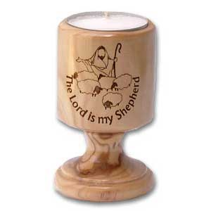 The Lord is My Shepherd Olive Wood Candle Holder