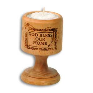God Bless Our Home Olive Wood Candle Holder