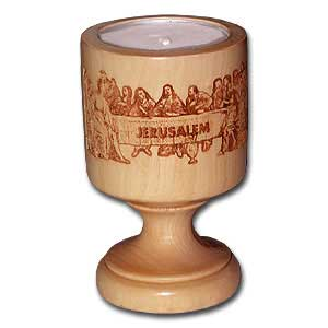 Last Supper Olive Wood Candle Holder