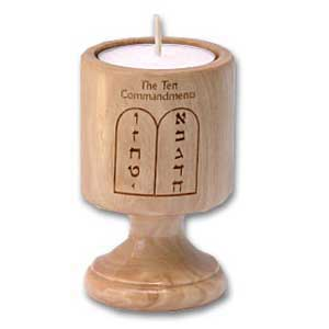 Ten Commandments Olive Wood Candle Holder