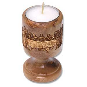 Last Supper Olive Wood Candle Holder with Gold-Leaf