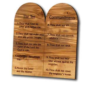 Olive Wood Ten Commandments, English