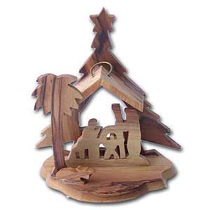 Olive Wood Nativity Scene Christmas Ornament