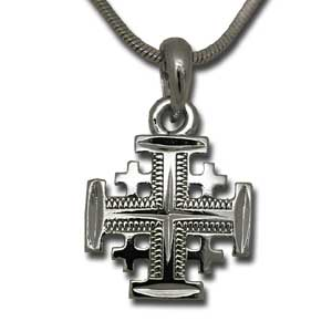 Jerusalem Cross Pendant. Rhodium.