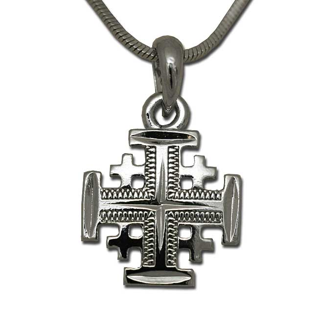 A jerusalem cross pendant created in white tone rhodium jerusalem cross pendant silver colored aloadofball Images