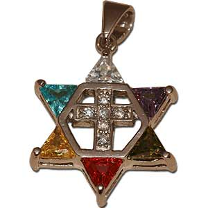 Star of David with Cross Pendant. Multi-colored crystals.