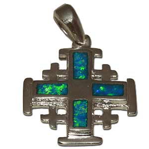 Jerusalem Cross Pendant. Synthetic Opal.