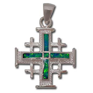 Jerusalem Cross Pendant. Sterling Silver with Gilson Opal