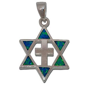 Star of David and Cross. Two Sided Pendant.