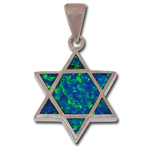Star of David Double-Sided Pendant. Two Hues of Synthetic Opal.