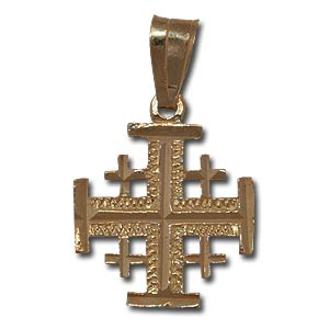 Jerusalem Cross Pendant. 14K Gold.
