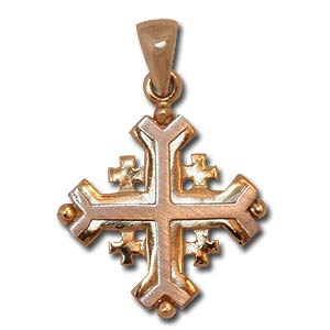 Gold Religious Pendant. Jerusalem Cross.