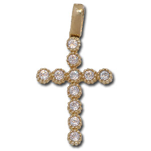 Christian Cross. 14K Gold Pendant with clear crystals.