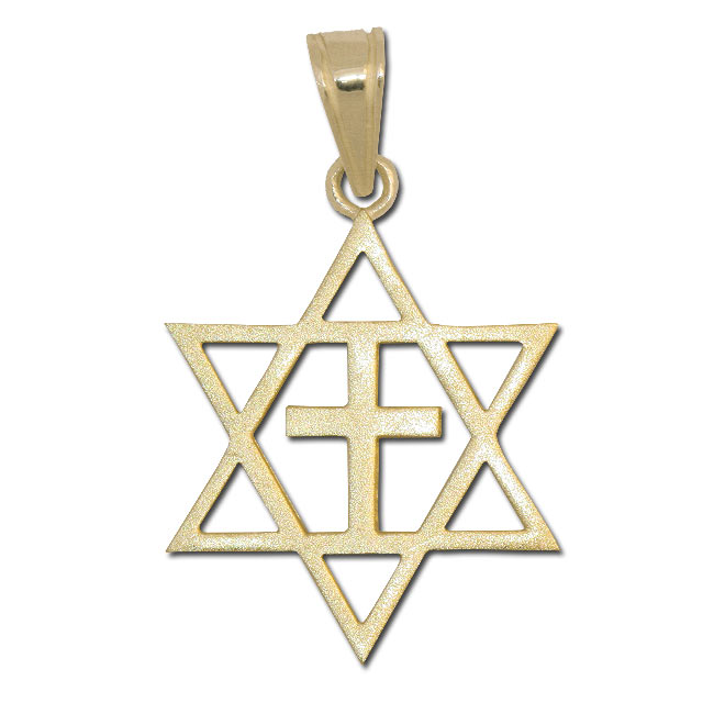 Messianic cross pendant 14 gold messianic pendants messianic cross and star of david pendant 14k gold aloadofball