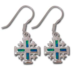 Dangling Synthetic Opal Earrings. Jerusalem Cross.