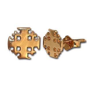 Jerusalem Cross Gold Stud Earrings