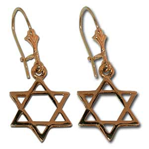 Star of David Earrings. 14K Gold.