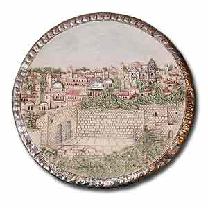 Ceramic Plate. Wailing Wall in Jerusalem.