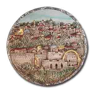 Decorative Ceramic Plate. Jerusalem Scenes.