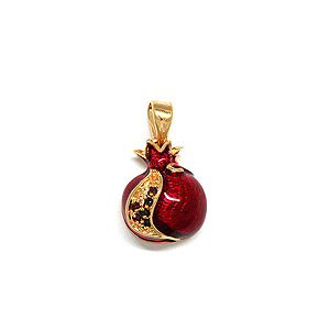 Gold Filled and Garnet Pomegranate Pendant