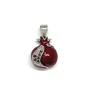 White Gold Filled and Garnet Pomegranate Pendant
