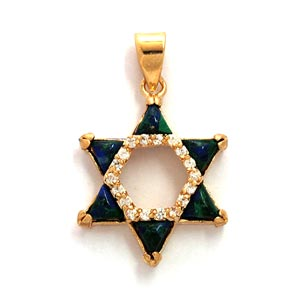 Gold Filled Star of David Pendant with Eilat Stone