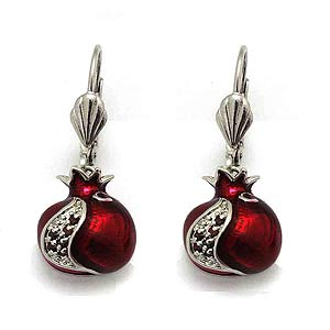 Pomegranate Earrings with Garnets