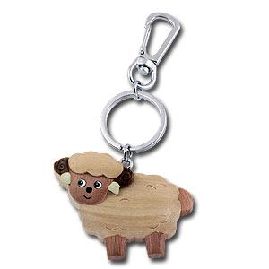 Wooden Standing Sheep Keychain