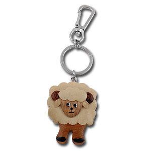 Wooden Smiling Sheep Keychain