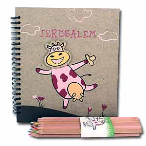 Dancing Cow Jerusalem Drawing Pad and Colored Pencils