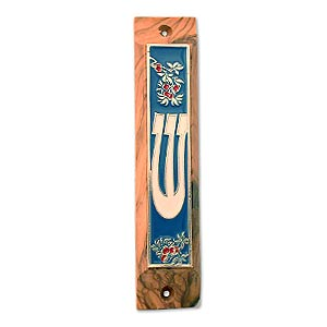 Olive Wood Shin Mezuzah with Flowers