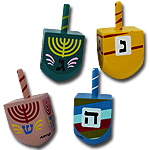 Colorful Wood Dreidels Set of 4