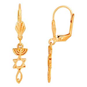 Yellow Gold Filled Messianic Grafted In Earrings