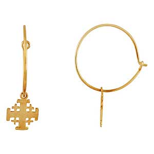 Jerusalem Cross Hoop Earrings, Yellow Gold filled